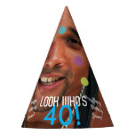 Photo Template Birthday Paper Party Hat<br><div class='desc'>These fun party hats feature your photo of the birthday person as the background along with optional text of &#39;Look Who&#39;s 40&#39; and &#39;Happy Birthday Jason&#39;. Overlying polka dots add to the party atmosphere and can be moved around to suit your photo. Change the image and personalize the text to...</div>