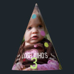 """Photo Template Birthday Year Party Hat<br><div class=""""desc"""">These fun children&#39;s party hats feature your photo of the birthday person as the background along with optional text of &#39;Look Who&#39;s 3&#39; and &#39;Happy Birthday Amelia&#39;. Overlying polka dots add to the party atmosphere and can be moved around to suit your photo. Change the image and personalize the text...</div>"""