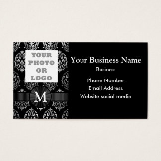 Photo template black and silver damask business card