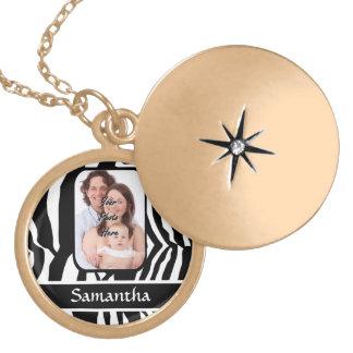 Photo template black and white zebra print round locket necklace