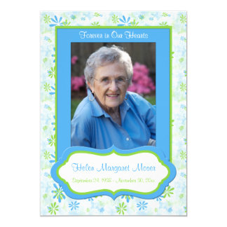 Photo Template | Blue, Green Floral Memorial Card