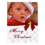 Photo Template Christmas Bow Postcard