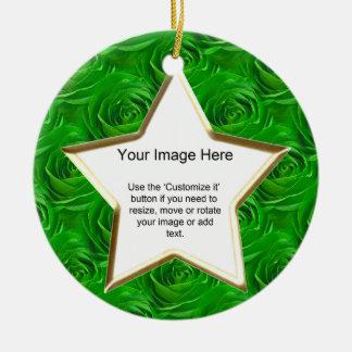 Photo Template - Emerald Green Rose Wallpaper Ceramic Ornament