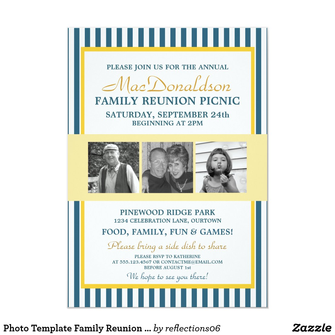 Photo Template Family Reunion Invitations