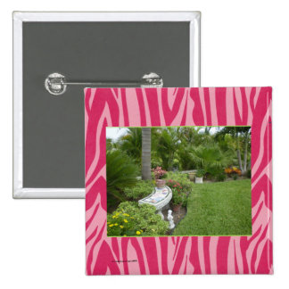 PHOTO TEMPLATE in Red and Hot Pink Zebra Print Pinback Button