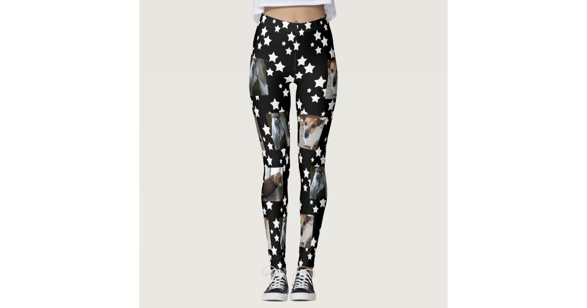 9d1ea12bf438d Photo Template Leggings | Black with White Stars | Zazzle.com