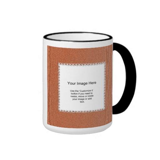 Photo Template - Orange Knit Stockinette Stitch Ringer Coffee Mug