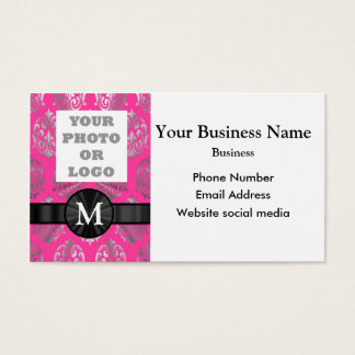 Photo template  pink and silver damask business card