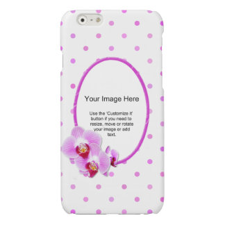Photo Template - Purple Orchid Floral Frame Glossy iPhone 6 Case