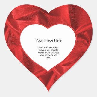Photo Template - Red Lame' Metallic Fabric Heart Sticker