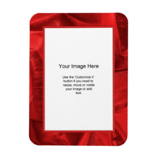 Photo Template - Red Lame' Metallic Fabric Rectangular Photo Magnet