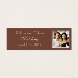 Photo Template Wedding Announcement Brown Pink Mini Business Card