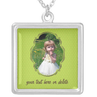 Photo template with polkadot silver plated necklace