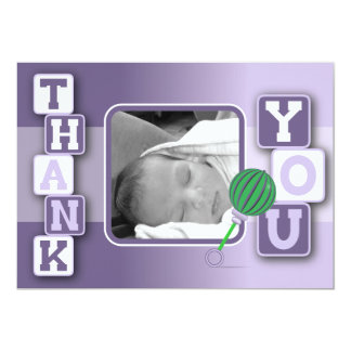 Photo Thank You Card - Baby Girl Blocks Rattle