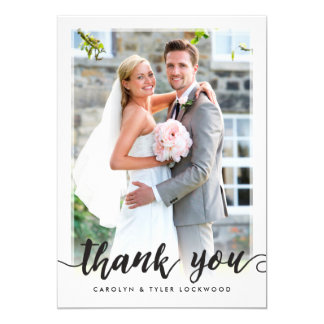 PHOTO THANK YOU cute hand lettered script black Card