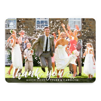 PHOTO THANK YOU cute white script type overlay Card