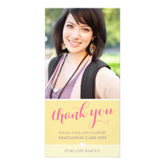 PHOTO THANK YOU lovely type graduate yellow grey Card