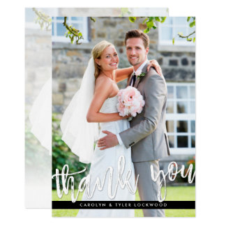 PHOTO THANK YOU modern hand lettered script white Card