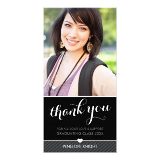 PHOTO THANK YOU script type graduate black white Card