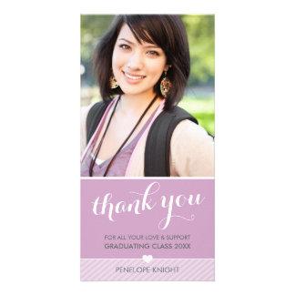 PHOTO THANK YOU script type graduate cute purple Card