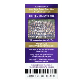 "Photo Ticket Class Reunion Invitation 4"" X 9.25"" Invitation Card"