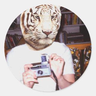 Photo tiger classic round sticker