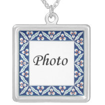 Photo Tile Border Silver Plated Necklace