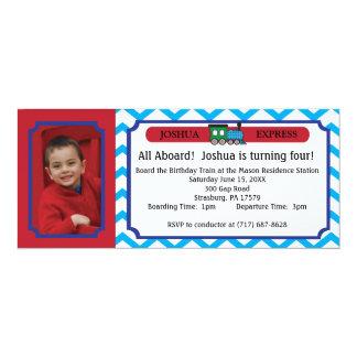 Photo Train Ticket - Blue Chevron Stripes Personalized Invitation