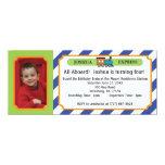 Photo Train Ticket - Blue Stripes Personalized Invite