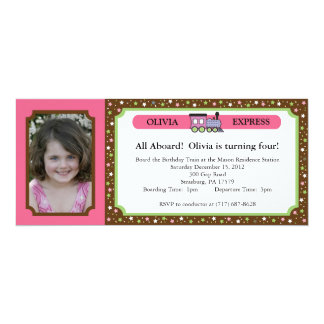 Photo Train Ticket - Pink & Brown 4x9.25 Paper Invitation Card
