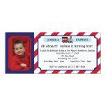 Photo Train Ticket - Red Stripes 4x9.25 Paper Invitation Card