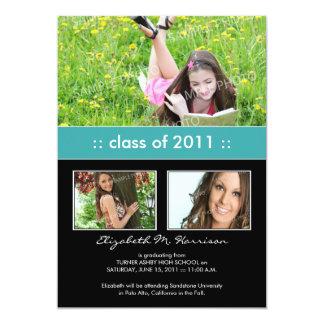 Photo Trio Custom Graduation Announcement (aqua)