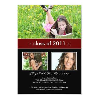Photo Trio Custom Graduation Announcement (maroon)