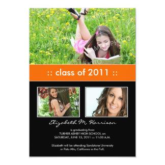 Photo Trio Custom Graduation Announcement (orange)