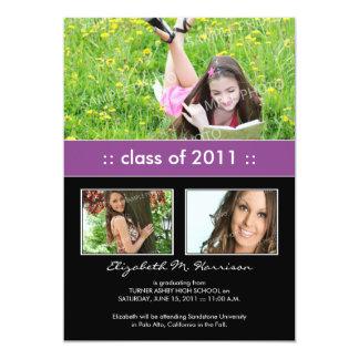 Photo Trio Custom Graduation Announcement (purple)