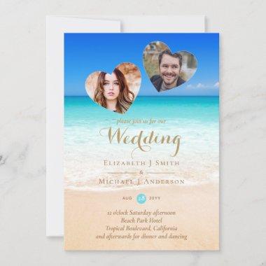 PHOTO Tropical Beach Hearts Sand Sea Wedding Inv