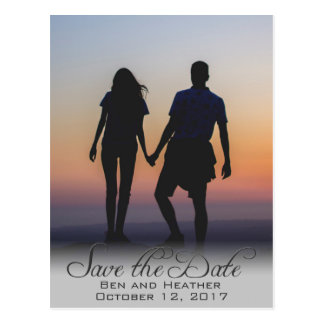 Photo Typography Romantic Save the Date Postcard