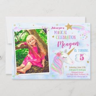 Photo Unicorn birthday invitation Magical unicorn