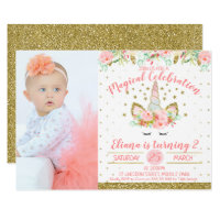 Photo Unicorn Face Birthday Invitation