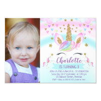 Photo Unicorn Rainbow Birthday Invitation