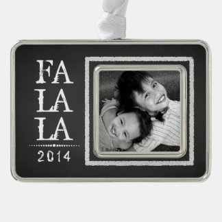 Photo Upload Faux Chalkboard Holiday Ornament Silver Plated Framed Ornament