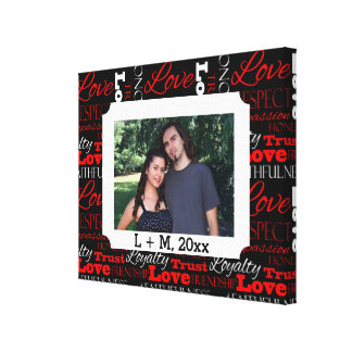 Photo Valentine's Day Word Collage Personalized Canvas Print