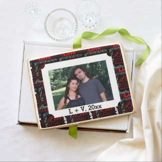 Photo Valentine's Day Word Collage Personalized Jumbo Shortbread Cookie