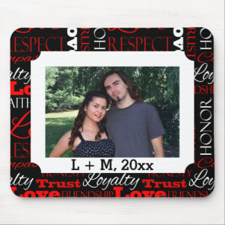Photo Valentine's Day Word Collage Personalized Mouse Pad