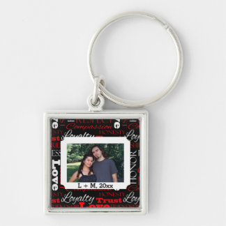 Photo Valentine's Day Word Collage Personalized Silver-Colored Square Keychain
