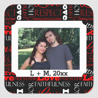 Photo Valentine's Day Word Collage Personalized Square Stickers