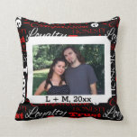 Photo Valentine's Day Word Collage Personalized Throw Pillow
