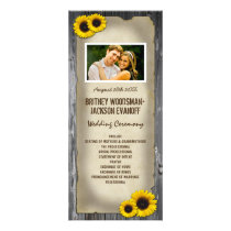 Photo Vintage Barn Wood Sunflower Wedding Programs