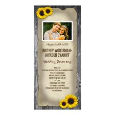 Photo Vintage Barn Wood Sunflower Wedding Programs Rack Cards