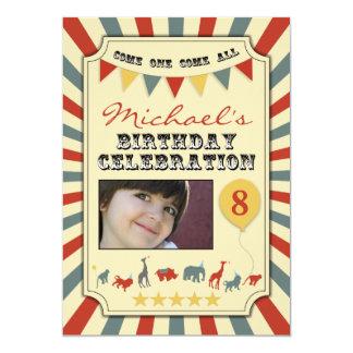 "Photo Vintage Circus Birthday Party Invitations 5"" X 7"" Invitation Card"